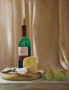 Composition with red wine