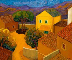 Casa gialla nel cortile